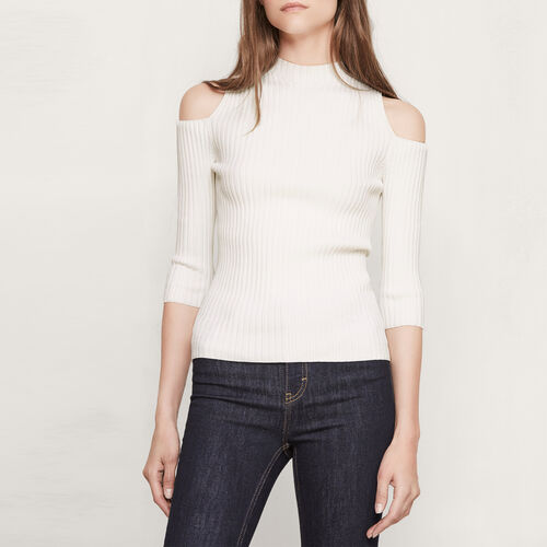 Close-fitting off the shoulder top - Knitwear - MAJE