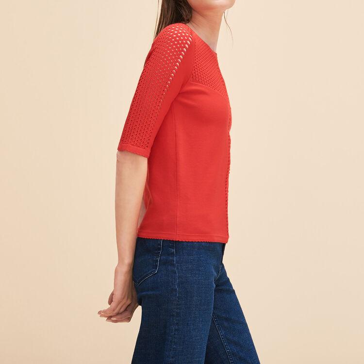 Locknit jumper with openwork - Knitwear - MAJE