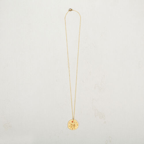Necklace with hammered medallion - Jewelry - MAJE