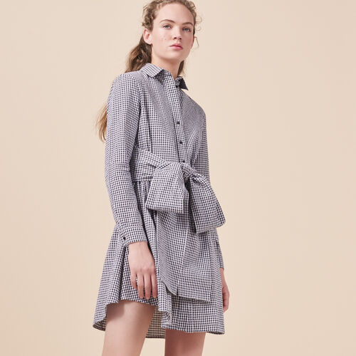 Gingham printed shirt dress - Dresses - MAJE