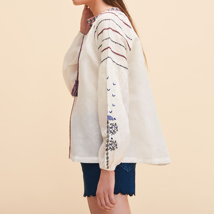 Embroidered ethnic blouse - Tops - MAJE