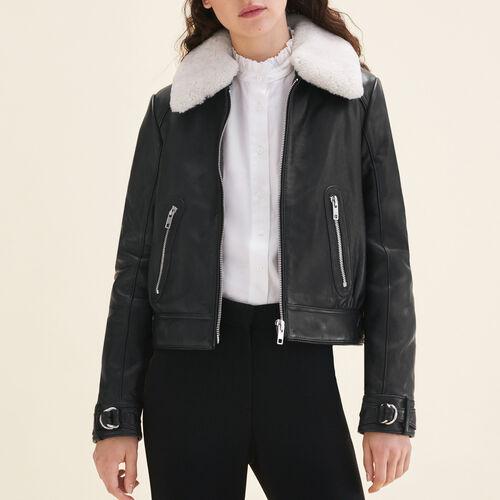 Sheepskin collar aviator jacket - Jackets & Bombers - MAJE