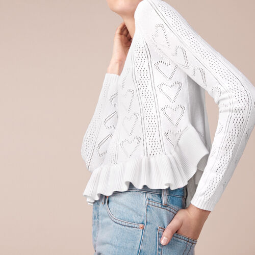 Frilled jacquard knit sweater - Sweaters & Cardigans - MAJE
