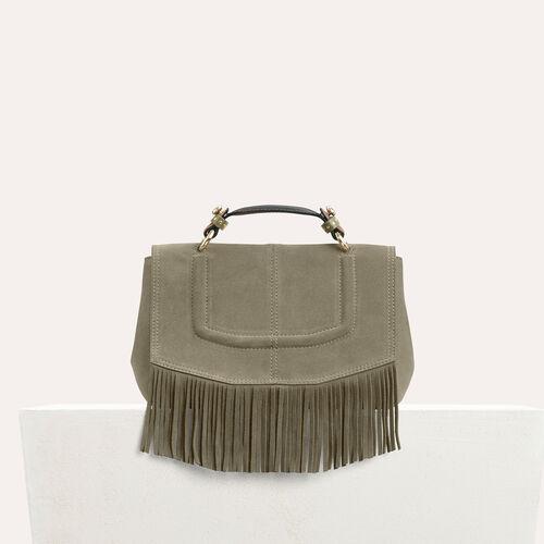 Mini satchel in suede with fringe - Shoulder bag - MAJE