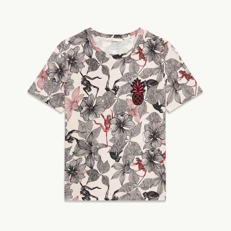 Printed T-shirt with crest - Tops - MAJE