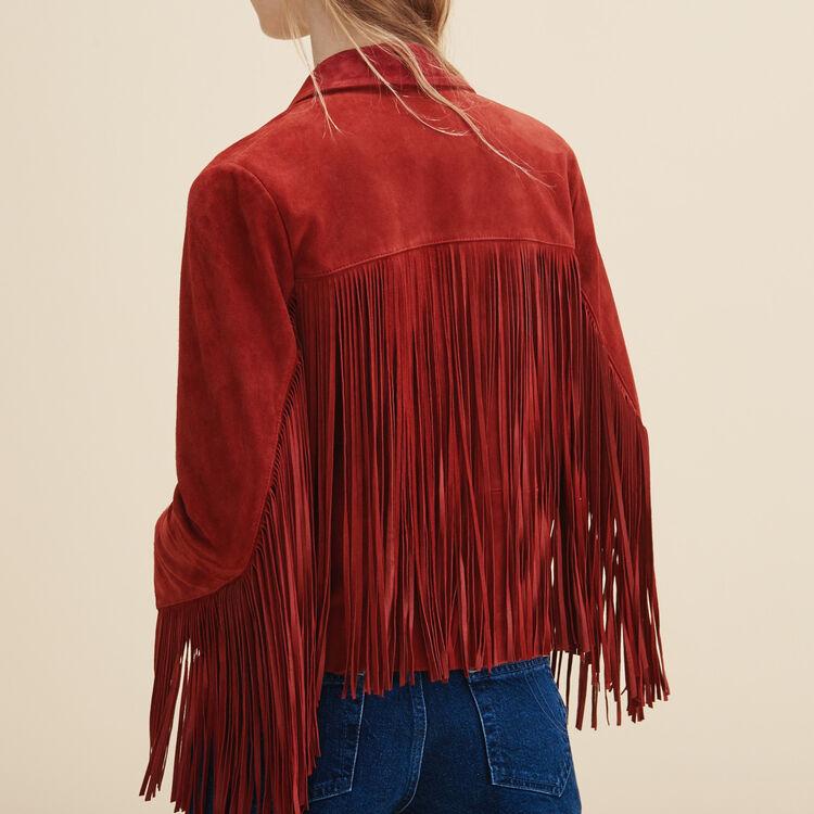 Leather fringed jacket - Jackets & Bombers - MAJE