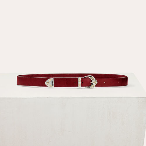 Scalloped buckle leather belt - Belts - MAJE