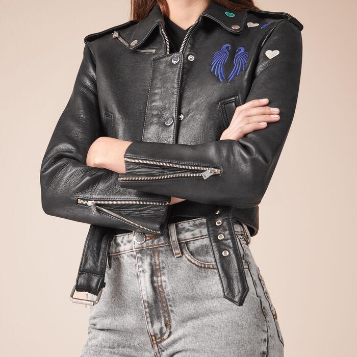 Cropped cowhide leather jacket -  - MAJE