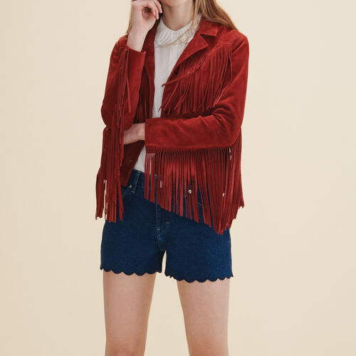 Leather fringed jacket - Jackets & Bombers - MAJE