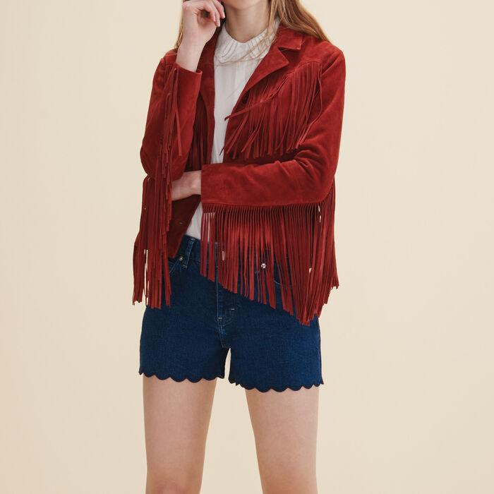 Leather fringed jacket -  - MAJE