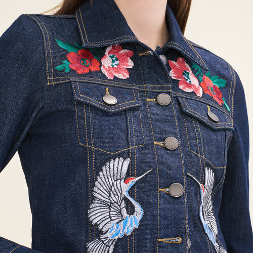 Denim jacket with embroidered crests - Jackets & Bombers - MAJE