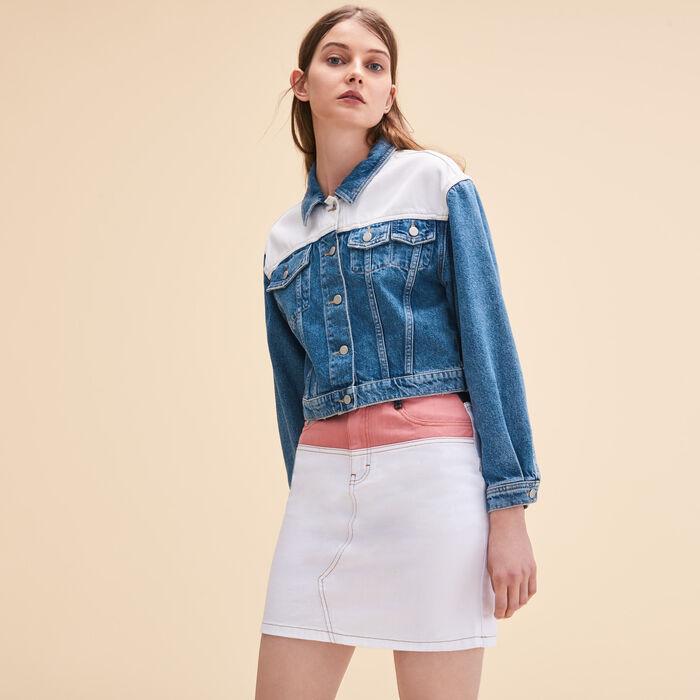 Two-tone denim jacket - Blazers - MAJE