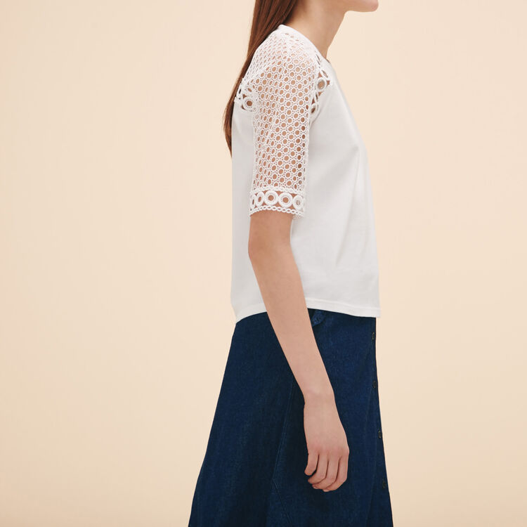 Embroidered T-shirt with eyelets - Tops - MAJE