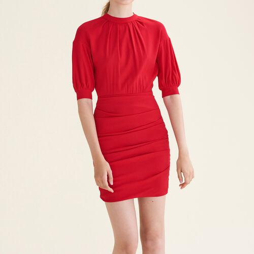 Draped dual-material dress - Dresses - MAJE