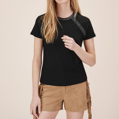 Linen T-shirt with lurex detailing - Tops - MAJE