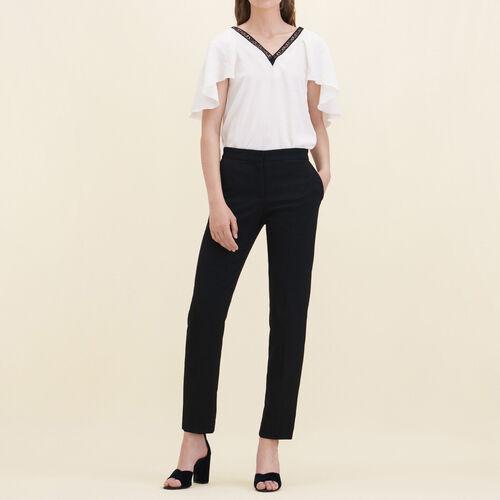 Straight-cut crêpe trousers - Trousers - MAJE
