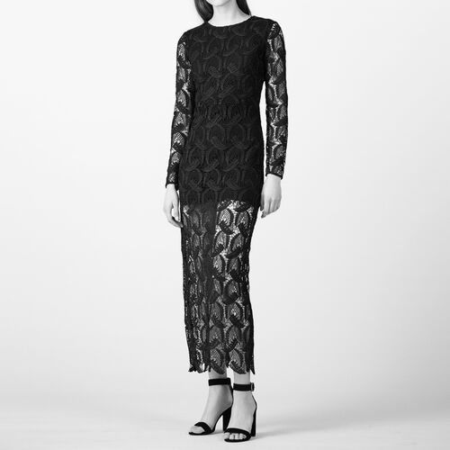 Long patterned lace dress - Dresses - MAJE