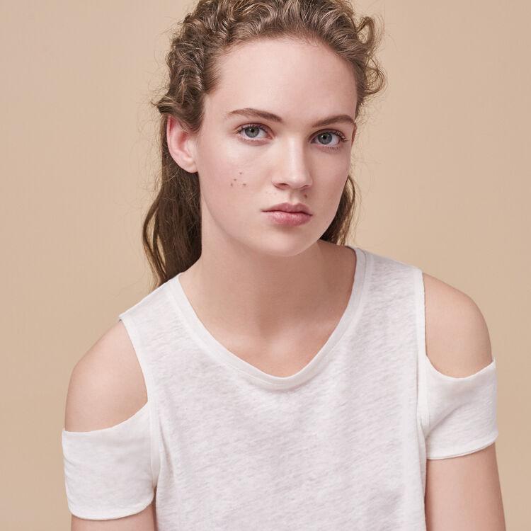 Linen off-the-shoulder T-shirt - Tops - MAJE