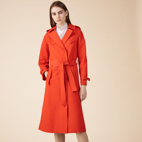 Cotton trench coat - Coats - MAJE