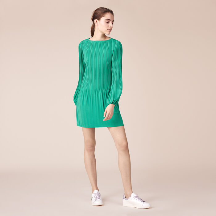 Pleated crêpe smock dress -  - MAJE