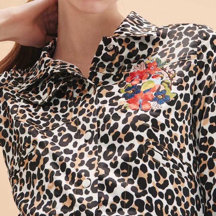 Short leopard-print jacket -  - MAJE