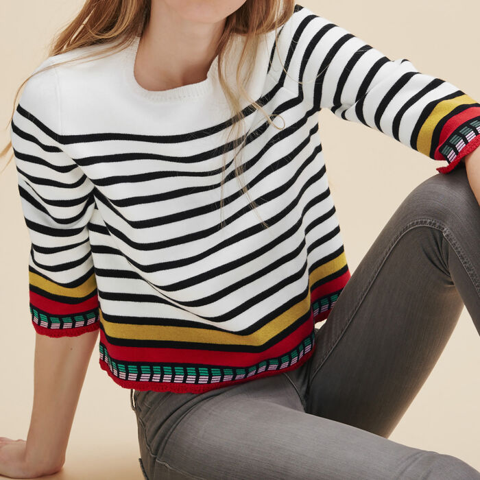 Breton jumper with embroidery - Knitwear - MAJE
