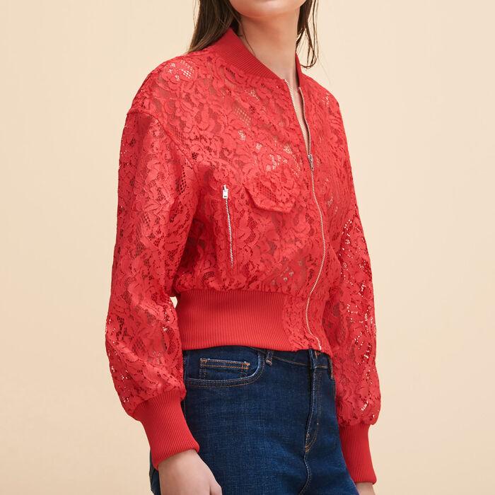 Short lace bomber jacket -  - MAJE