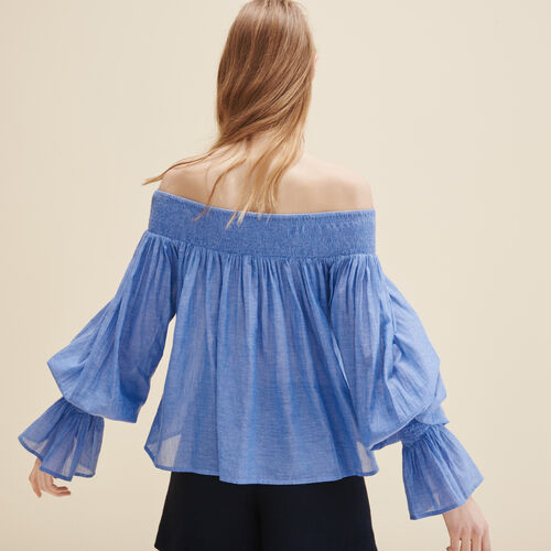 Blouse with smocking - Tops - MAJE