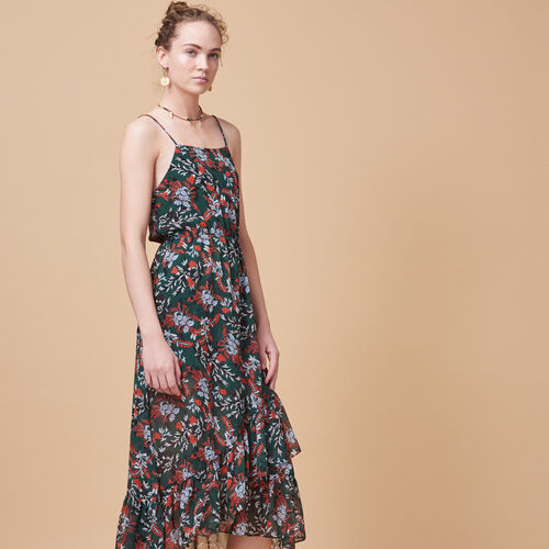 Long printed chiffon dress - Dresses - MAJE