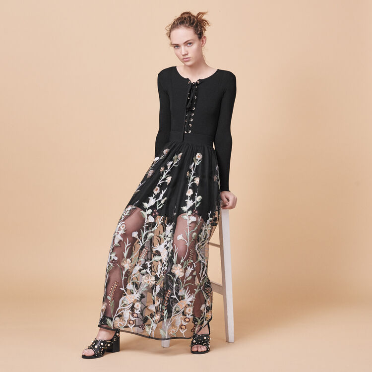 Long skirt with embroidery - Skirts & Shorts - MAJE