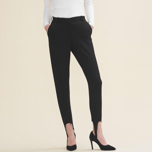 Straight-cut crepe stirrup trousers - Trousers - MAJE