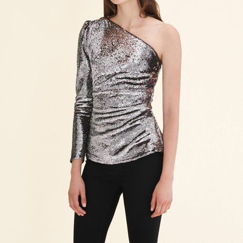 Asymmetrical sequinned top - Tops - MAJE