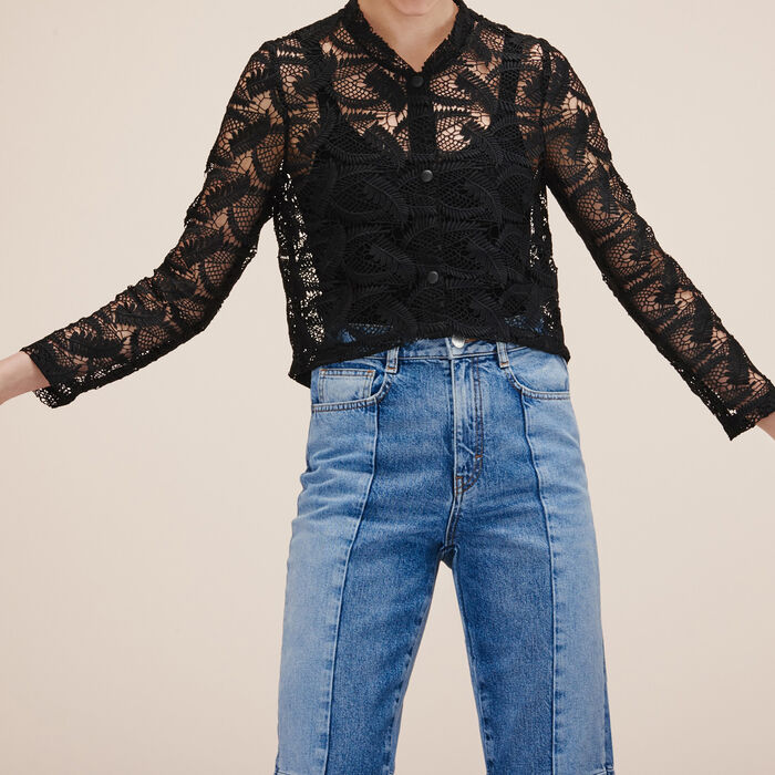 Lace cropped jacket -  - MAJE