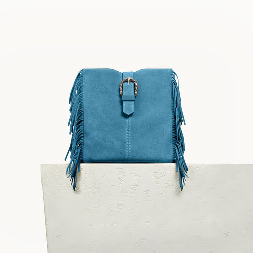 M bag in suede with scalloped buckle - Best Sellers - MAJE