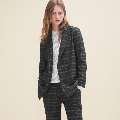 Long tartan jacket - Blazers - MAJE