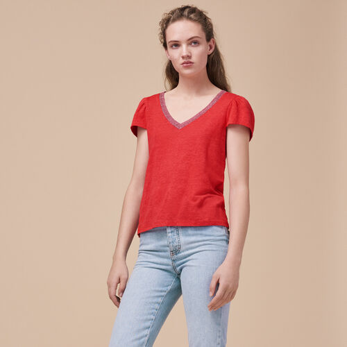 Linen T-shirt with gathered sleeves - Tops & Shirts - MAJE
