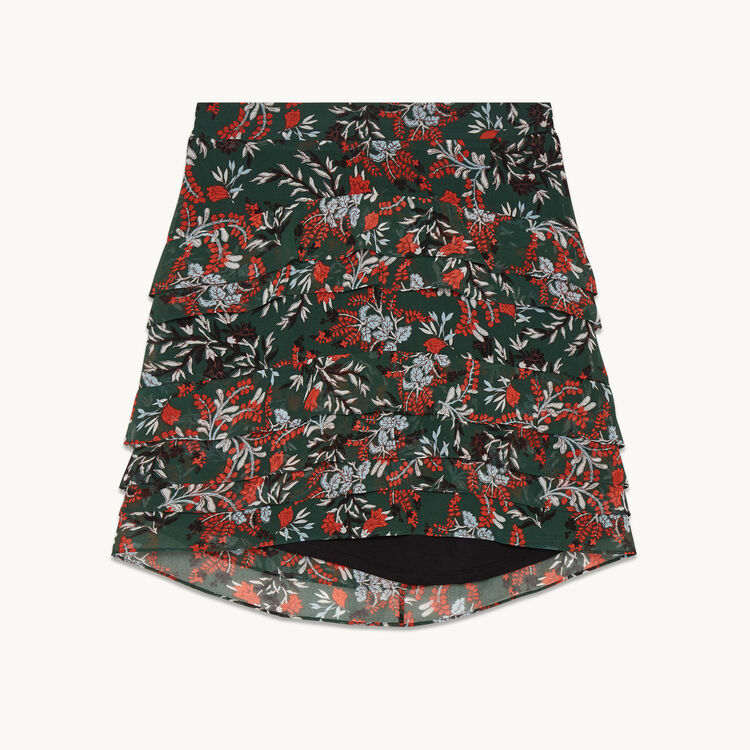 Short asymmetrical printed skirt - Skirts & Shorts - MAJE