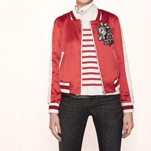 Varsity-style embroidered satin jacket - Jackets & Bombers - MAJE