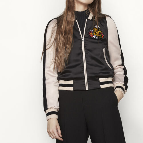 Varsity-style two-tone satin jacket - Jackets & Bombers - MAJE