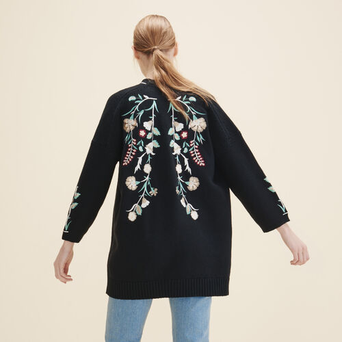 Cardigan with embroidery - Knitwear - MAJE