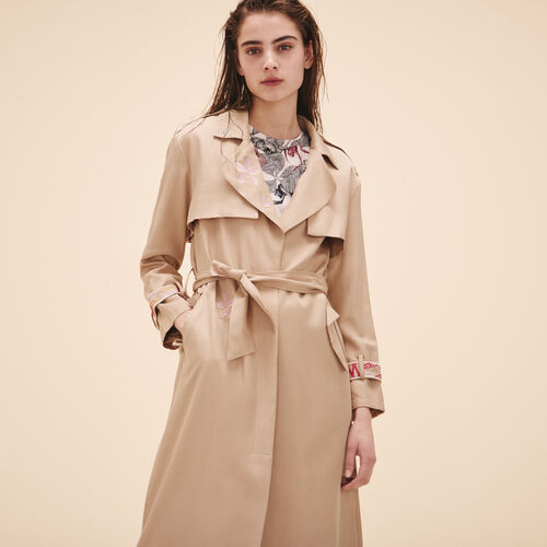 Trench coat with embroidery - Coats - MAJE