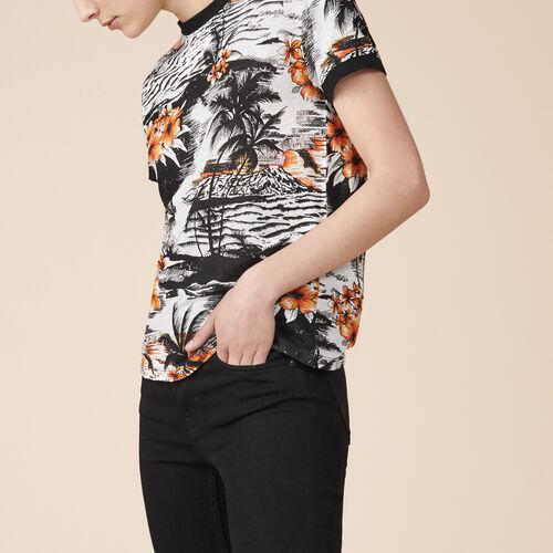 Printed linen T-shirt - Tops - MAJE