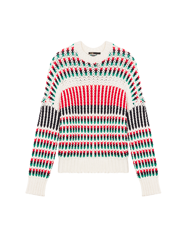 Decorative multi-coloured knit jumper - Knitwear - MAJE