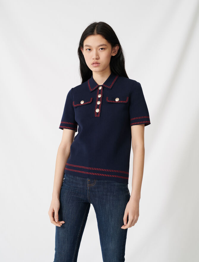 Short-sleeved polo-style jumper -  - MAJE