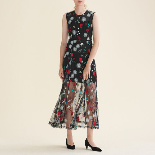 Long dress with all-over embroidery - Dresses - MAJE
