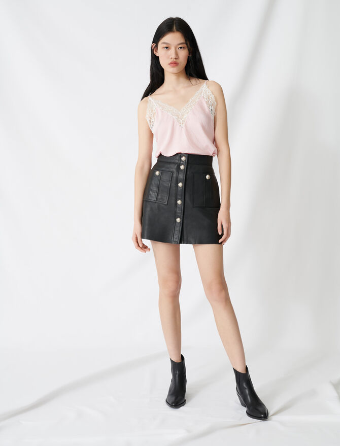 Buttoned A-line leather skirt -  - MAJE