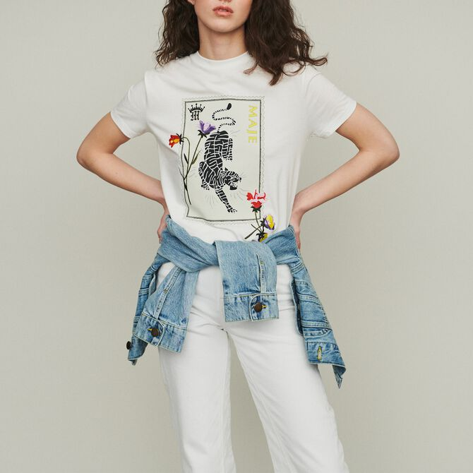 Printed embroidered T-shirt - Seventies - MAJE