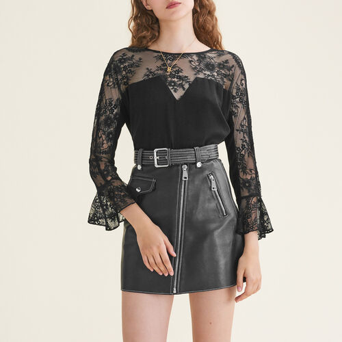 Floaty lace top : Tops color Black 210