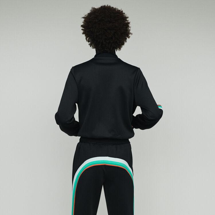 Zipped sport jacket : Knitwear color Black 210