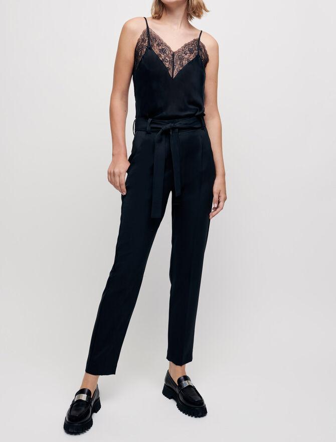 Pantalon carotte avec ceinture - Trousers & Jeans - MAJE